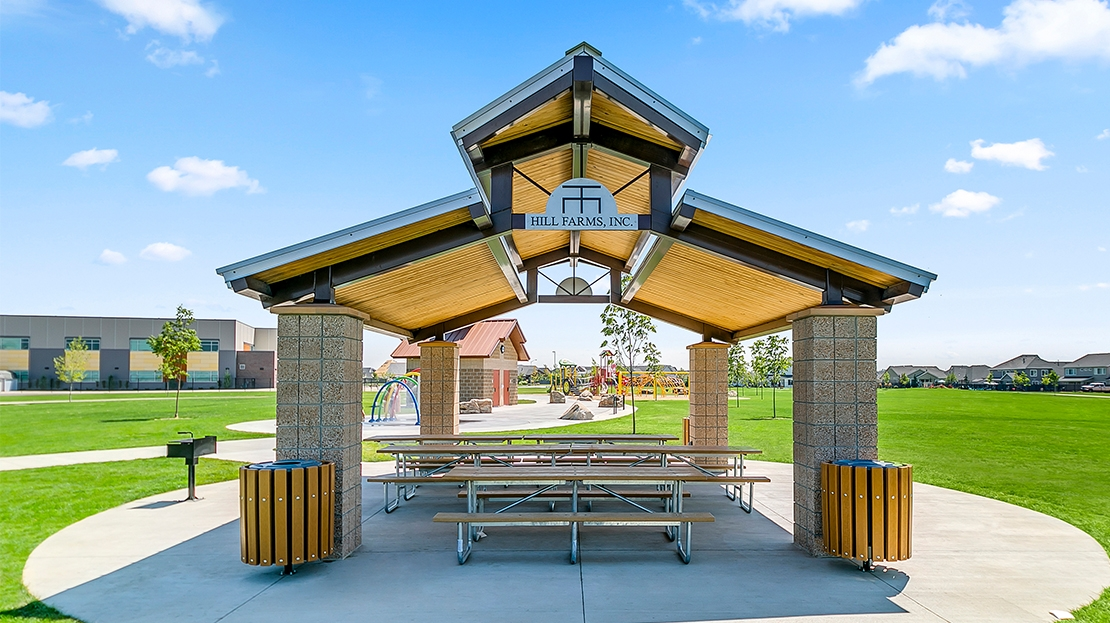 picnic shelter with custom metal sign